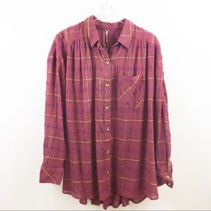 Free People Break My Stride Metallic Plaid Tunic-L